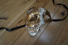 Venetian GOLD AND CREAM Phantom/Half face Mask.Masquerade/Ball/Prom. UNI-SEX.UK