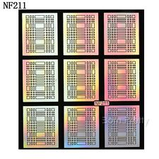 9 Tips/Sheet Checked Pattern Nail Vinyls Nail Art Stencils Holo Stickers NF211