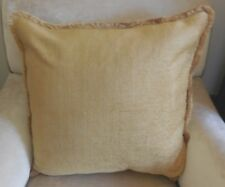 PAIR New XL or Euro GREENY GOLD FINE STRIPED CHENILLE Cushion covers & Fringes