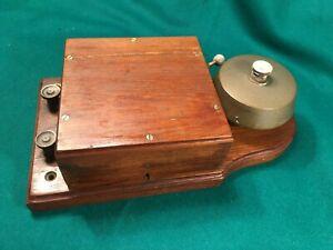 Antique / Vintage Mahogany & Brass Electric Door Bell