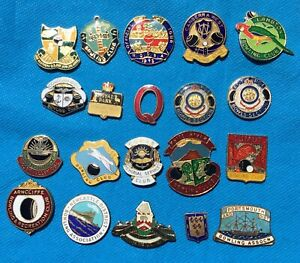 Vintage Collection of Australian Leagues Club Bowling club enamel badges x 20 AA