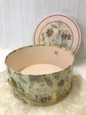 "Vtg Decorative Women's Hat Box Botanical Floral ""Antique"" Pink Yellow, Large 15"""