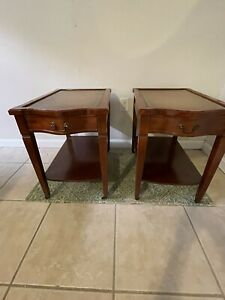 PAIR- Mersman Vintage Mahogany Side Tables with Leather Top & Gold Stenciling