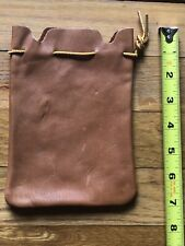 Handcrafted brown leather pouch, Muzzleloading hunting bullet bag, coin bag