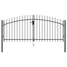 AX Cancello Doppia Anta Punte Acciaio Nero Barriere 300x175cm Giardino 146027
