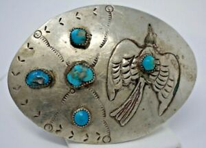 Vintage Native American Nickel Silver & Turquoise Peyote Bird Belt Buckle Signed