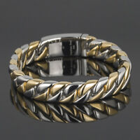 """Gold Color Chain Bracelet Men Women 12MM Wide Stainless Steel Wristband 8.66"""""""