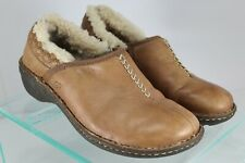 UGG Womens Sz  7 Australia Bettey 1928 Brown Leather Slip on Casual Clogs Lined