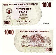 Zimbabwe Billet 1000 $  DOLLAR 2006 2007 BEARER P44 NEUF UNC