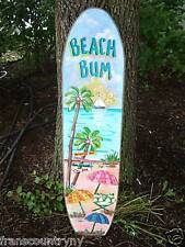 "48"" BEACH BUM TROPICAL SURFBOARD ART KIDS BOYS GIRLS ROOM SIGN PLAQUE HOME DECOR"