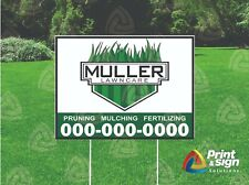 Custom Lawn Care 18x24 Yard Sign Coroplast Printed Double Sided W Free Stand