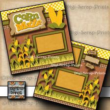 CORN MAZE ~ FALL ~ FARM 2 premade scrapbook pages paper printed Digiscrap A0266