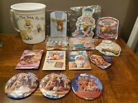 Vintage Cherished Teddies Lot Pins, Buttons, Necklace, and Bucket