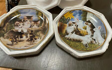 "Franklin Mint ""Fine Feathered Friends"" Sprovach ""Kittens And Cottontails"" Pair"