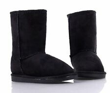 Black Slip On Only Kid Shoes Girls Boots Faux Fur Interior Winter Youth Size 10