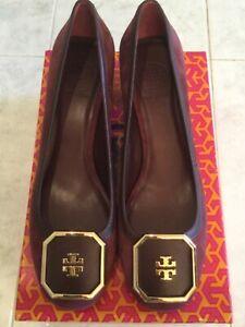 Tory Burch Dark Plum 50mm Heel Logo Shoes Size 9.5M *NWT*