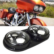 Dual LED Headlight Black Projector Daymaker Harley Davidson Road Glide 2004-2013