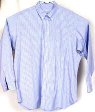 Holland & Sherry London Mens Blue Stripe Button Front Long Sleeve Shirt