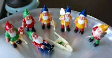 Vintage Miniature Fairy Garden  Gnomes - Set of 7.  With Garden Tools