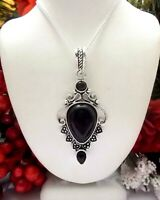 """Beautiful Natural Black Onyx Gemstone 925 Sterling Silver Pendant/Necklace-2.6"""""""