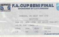 Ticket - Wolverhampton Wanderers v Arsenal 05.04.98 FA Cup Semi @ Villa