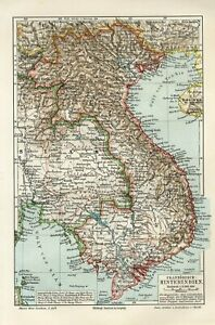 1895 FRENCH INDOCHINA VIETNAM TONKIN CAMBODIA SIAM THAILAND BURMA Antique Map