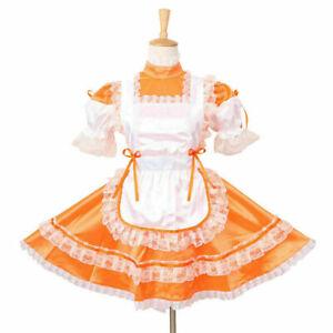 Sissy Maid Orange Satin Locking Dress Cosplay Costume dressers tailor-maid