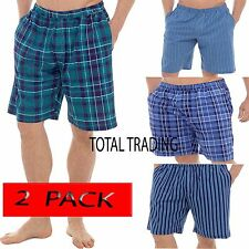 Mens 2 Pack  Sleep Night Wear Pyjamas PJ Bottoms Lounge ShortS WITH POCKETS