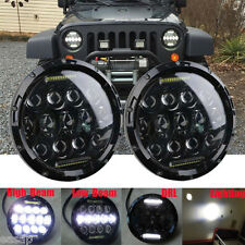 2x 7inch 75W PHILIPS LED Headlight H4 H13 DRL HIGH LOW BEAM For JEEP JK Wrangler
