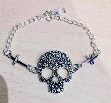 Sugar Skull & Crosses Bracelet, Vintage, Rockabilly, Steampunk, Day of the Dead