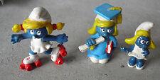 RARE Lot of 3 Vintage 1970s 80 Peyo Schleich Smurfette Smurfs Figurines