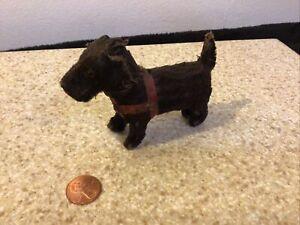 4 Inch Miniature antique mohair stuffed animal dog Scottie possibly Steiff