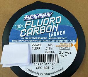 HI-SEAS 100% FLUOROCARBON LEADER LINE 6LB - 80 LB - CLEAR 25 YARDS - NEW