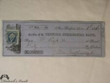 1863 Bedford Commercial Bank Cashier Check with 2 Cent US Revenue Stamp.