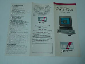 Amstrad PC 1640 Computer Information Folder 1989 Vintage Booklet