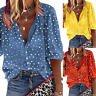 Women's Polka Dot Print Tops Shirt Ladies Casual Loose Button Long Sleeve Blouse