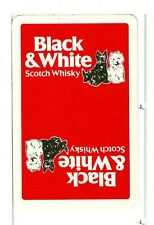 """Single Playing Card, """"Black & White"""" Scotch Whiskey, red w/two dogs"""