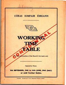 CIE Working Timetable, Ireland, September 1963 - June 1964