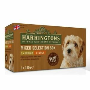 Harringtons Mixed Selection Wet Dog Food Chicken Duck Grain Free 6 x 150g Trays