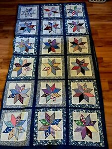 Vintage Handmade 8 Point Star Quilt Block Pattern Farmhouse Country Cottage
