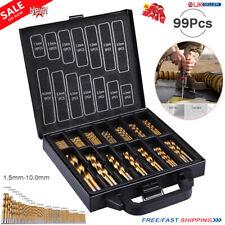 99pcs Coated HSS Twist Titanium Drill Bit Set 1.5-10mm for Dewalt Makita Bosch