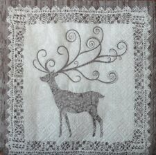 4 x single  PAPER NAPKINS  CHRISTMAS VINTAGE DEER DECOUPAGE CRAFTING -102