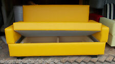 SMALL BRIGHT YELLOW SOFA BED 120CM 2 SEATER SOFA BED STORAGE FAUX LEATHER LOW