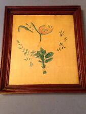Antique Folk Art Watercolor Painting Of Flowers Primitive Still Life