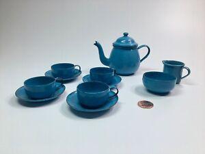 Vintage Blue Enamel Metal Ware Childs Toy Tea Set with Kettle - Germany