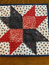 New listing 4th of July Red White Blue Quilted Table Topper Handmade Patriotic Stars