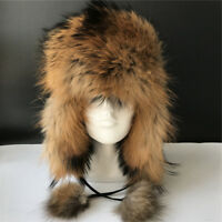 Real Raccoon Fur Russian Aviator Hat Ski caps Leather Trapper Hat w EarFlap