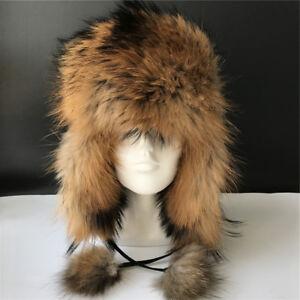 Real Raccoon Fur Russian Aviator Hat Ski caps Leather Trapper Hat w EarFlap