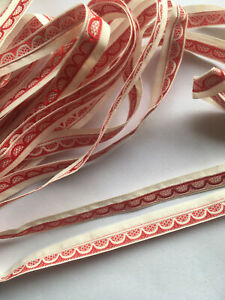 4 Yards of Cream & Red, reversible, Ribbon or Trimming