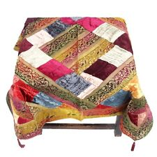 Indian Silk Table Cover Brocade Patchwork Brocade Beige Table Mate #NTC-4